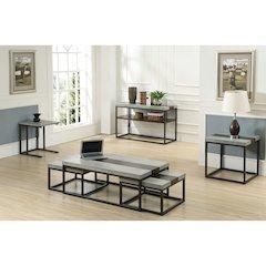 Stoneworks 3PC-Set-Wood-Concrete-Metal Table Set