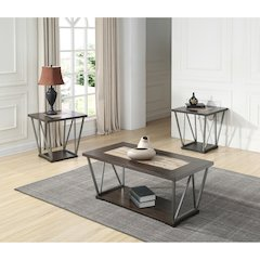 North Bay End Table-Wood & Tile