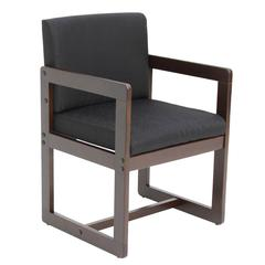 Belcino Sled Base Side Chair with Arms- Mocha Walnut/ Black