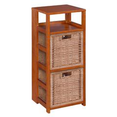 """Flip Flop 34"""" Square Folding Bookcase with 2 Full Size Wicker Storage Baskets- Cherry/Natural"""