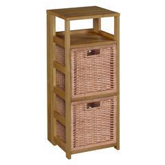 "Flip Flop 34"" Square Folding Bookcase with 2 Full Size Wicker Storage Baskets- Medium Oak/Natural"