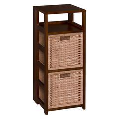 "Flip Flop 34"" Square Folding Bookcase with 2 Full Size Wicker Storage Baskets- Mocha Walnut/Natural"