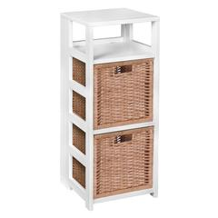 """Flip Flop 34"""" Square Folding Bookcase with 2 Full Size Wicker Storage Baskets- White/Natural"""