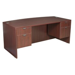 "Legacy 71"" Bow Front Double Pedestal Desk- Mahogany"