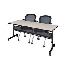 """72"""" x 24"""" Flip Top Mobile Training Table with Modesty Panel- Maple and 2 Cadence Nesting Chairs"""
