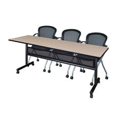 """84"""" x 24"""" Flip Top Mobile Training Table with Modesty Panel- Beige and 3 Cadence Nesting Chairs"""