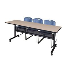 """84"""" x 24"""" Flip Top Mobile Training Table with Modesty Panel- Beige and 3 Zeng Stack Chairs- Blue"""
