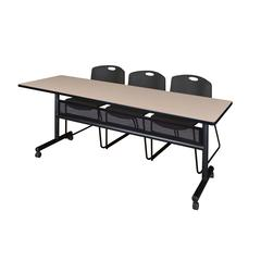 """84"""" x 24"""" Flip Top Mobile Training Table with Modesty Panel- Beige and 3 Zeng Stack Chairs- Black"""