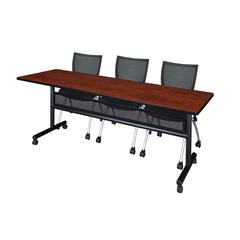 "84"" x 24"" Flip Top Mobile Training Table with Modesty Panel- Cherry and 3 Apprentice Nesting Chairs"