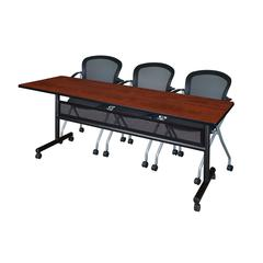 "84"" x 24"" Flip Top Mobile Training Table with Modesty Panel- Cherry and 3 Cadence Nesting Chairs"