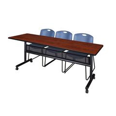 "84"" x 24"" Flip Top Mobile Training Table with Modesty Panel- Cherry and 3 Zeng Stack Chairs- Blue"