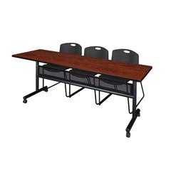 "84"" x 24"" Flip Top Mobile Training Table with Modesty Panel- Cherry and 3 Zeng Stack Chairs- Black"
