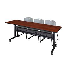 "84"" x 24"" Flip Top Mobile Training Table with Modesty Panel- Cherry and 3 Zeng Stack Chairs- Grey"