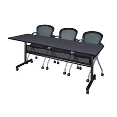 "84"" x 24"" Flip Top Mobile Training Table with Modesty Panel- Grey and 3 Cadence Nesting Chairs"