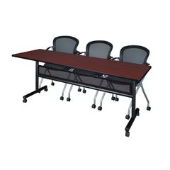 "84"" x 24"" Flip Top Mobile Training Table with Modesty Panel- Mahogany and 3 Cadence Nesting Chairs"