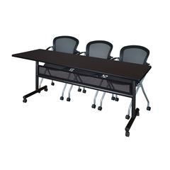 "84"" x 24"" Flip Top Mobile Training Table with Modesty Panel- Mocha Walnut and 3 Cadence Nesting Chairs"