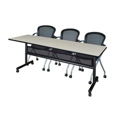 "84"" x 24"" Flip Top Mobile Training Table with Modesty Panel- Maple and 3 Cadence Nesting Chairs"