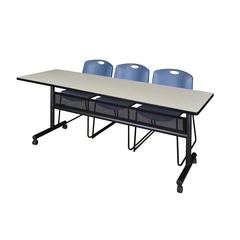 "84"" x 24"" Flip Top Mobile Training Table with Modesty Panel- Maple and 3 Zeng Stack Chairs- Blue"