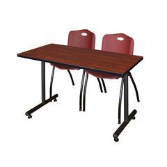 """48"""" x 24"""" Kobe Training Table- Cherry & 2 'M' Stack Chairs- Burgundy"""