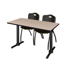 """Cain 48"""" x 24"""" Training Table- Beige & 2 'M' Stack Chairs- Black"""