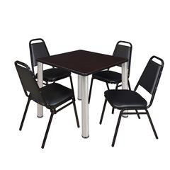 "Kee 30"" Square Breakroom Table- Mocha Walnut/ Chrome & 4 Restaurant Stack Chairs- Black"