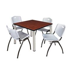 "Kee 42"" Square Breakroom Table- Cherry/ Chrome & 4 'M' Stack Chairs- Grey"