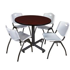 "Kobe 36"" Round Breakroom Table- Mahogany & 4 'M' Stack Chairs- Grey"