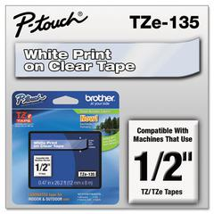 """Brother P-Touch TZe Standard Adhesive Laminated Labeling Tape, 1/2""""w, White on Clear"""