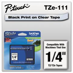 """P-Touch TZe Standard Adhesive Laminated Labeling Tape, 1/4""""w, Black on Clear"""