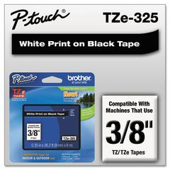 "TZe Standard Adhesive Laminated Labeling Tape, 3/8""w, White on Black"