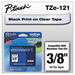 "TZe Standard Adhesive Laminated Labeling Tape, 3/8""w, Black on Clear"
