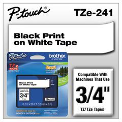 "TZe Standard Adhesive Laminated Labeling Tape, 3/4""w, Black on White"
