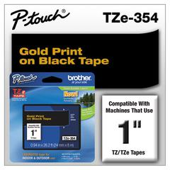 "TZe Standard Adhesive Laminated Labeling Tape, 1""w, Gold on Black"
