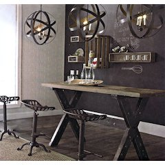 Franklin Vintage Rectangular Dining Table with Weathered Grey Top and Black Powder Coated Base by Diamond Sofa