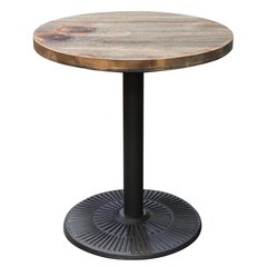 """Lincoln Vintage 28"""" Round Bistro Table with Weathered Grey Top and Black Powder Coat Base by Diamond Sofa"""