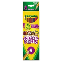 Multicultural Colored Woodcase Pencils, 3.3 mm, 8 Assorted Colors/Set