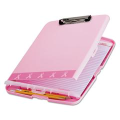 "Officemate Breast Cancer Awareness Clipboard Box, 3/4"" Capacity, 8 1/2 x 11, Pink"
