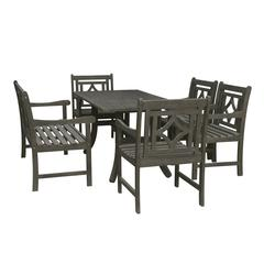 Renaissance Outdoor 6-piece Wood Patio Curvy Legs Table Dining Set