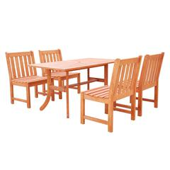 Malibu Outdoor 5-piece Wood Patio Dining Set with Curvy Leg Table & Armless Chairs