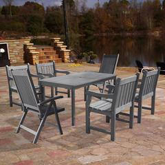 Renaissance Outdoor Patio Hand-scraped Wood 7-piece Dining Set with Reclining Chairs