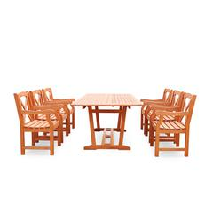 Malibu Outdoor 7-piece Wood Patio Dining Set with Extension Table