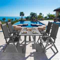 Renaissance Outdoor Patio Hand-scraped Wood 5-piece Dining Set with Reclining Chairs