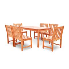 Malibu Outdoor 7-piece Wood Patio Dining Set with Armless Chairs