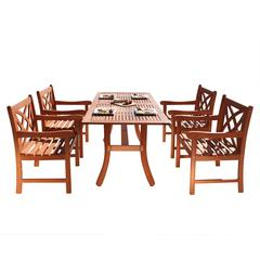 Malibu Outdoor 5-piece Wood Patio Dining Set with Curvy Leg Table