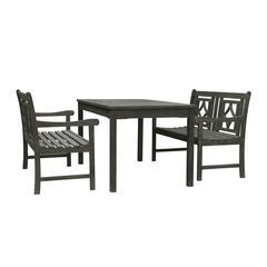 Renaissance Outdoor 3-piece Wood Patio Rectangular Table Dining Set