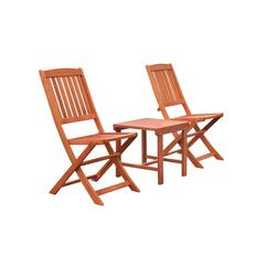 Malibu Outdoor Patio 3-Piece Wood Dining Set with Folding Chair