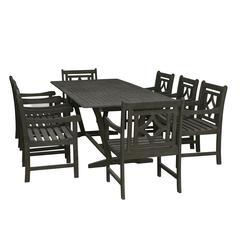 Renaissance Outdoor 7-piece Wood Patio Extendable Table Dining Set
