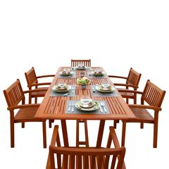 Malibu Outdoor 7-piece Wood Patio Dining Set with Extension Table & Stacking Chairs