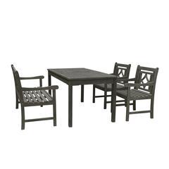 Renaissance Outdoor 4-piece Wood Patio Rectangular Table Dining Set