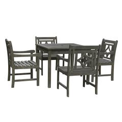 Renaissance Outdoor 5-piece Wood Patio Stacking Table Dining Set